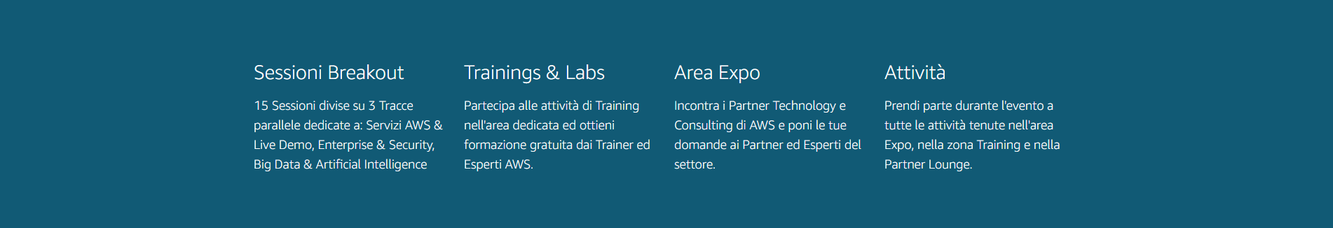 Amazon AWS Summit 2017 Attività