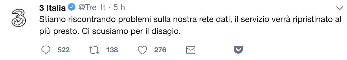 twit tre italia problemi rete